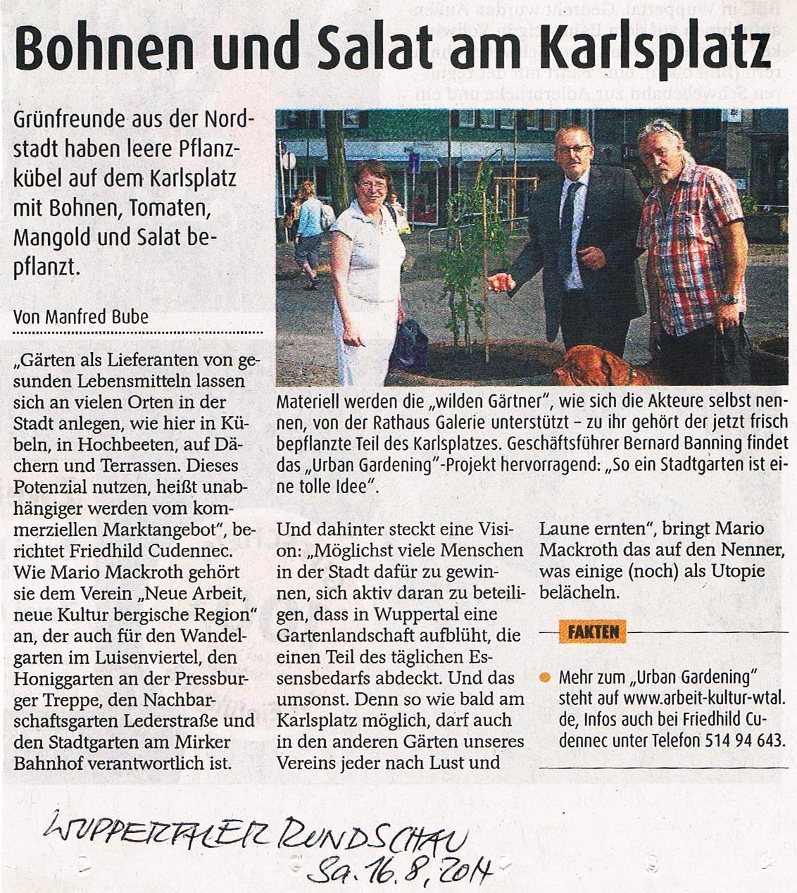 Karlsplatz Gemeinschaftsgarten Wuppertaler Rundschau 16_08_2014 001